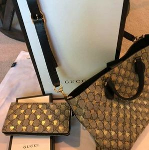 Brand new Gucci Supreme Bees purse and wallet set